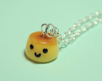 Kawaii Flan Charm Necklace Polymer Clay, Pudding, Caramel, Novelty Gift, Dessert Necklace