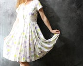 Vintage Dress 1960s So Sweet Summer Day Dress Vera Style Butterfly Daisy Print Circle Skirt Size M
