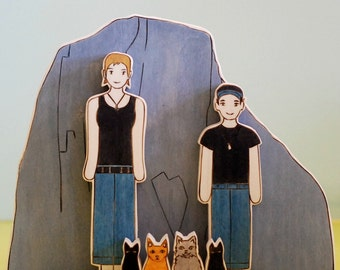 Custom Wedding Cake Toppers Couple with a Custom Mountain and Four Pets