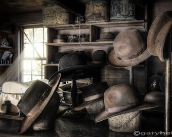 A 19th Century Hatters Shop -  Hats, Molds, Boxes and Tools, Art Photography of an Old World Milliners Place, Very old Place