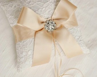 Ivory and Champagne Ring Bearer Pillow - Alencon Lace Ring Bearer Pillow with Rhinestones