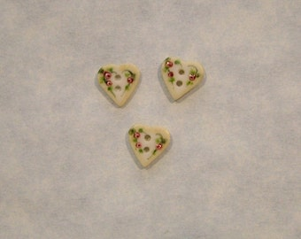 Mini Heart Shaped Porcelain Buttons - Handmade and Hand Painted - 5/16 inch x 5/16 inch - Set of 3