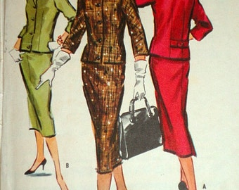 Vintage 1950's McCall's 3918 Sewing Pattern, Instant Suit With Choice Of Collars, Size 10, Bust 31, Uncut