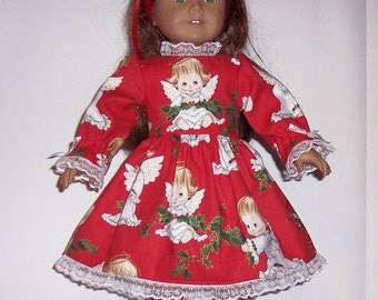 CRISTMAS ANGEL DRESS - For American Girl Doll or other 18 inch dolls