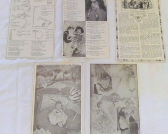 "CHILDHOOD TALES --nursery rhymes and fairy tales--  antique prints from ""Book of Knowledge"" 1912 (6 pages)"