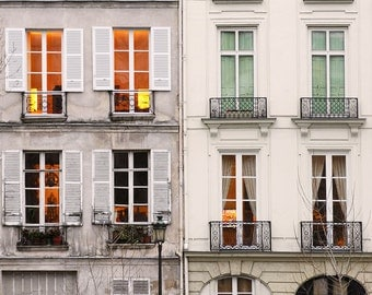 "Paris Photography, ""Windows at Dusk"" Paris Print, Large Art Print Fine Art Photography"