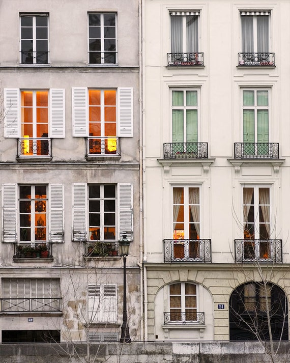 "Paris Photography, ""Windows at Dusk"" Large Art Print, Travel Wall Art, Living Room Fine Art Photography Paris Print, Vertical Modern Art"