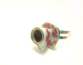 Coffee Cup Ring, Miniature Food Jewelry, Polymer Clay Food Jewelry