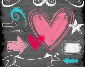 Chalkboard Elements Digital Clipart, Photoshop Brushes and Stamps. Download. Personal, Limited Commercial Use.