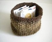 Brown Knit Basket / Brown Knit Bowl / Tea Caddy / Small Knit Bowl Basket / Under 20 gift
