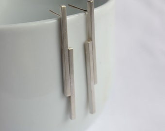 "Stick earrings made of Sterling silver, geometric earrings, studs or dangle earrings,  ""Short  Mikado Earrings"""