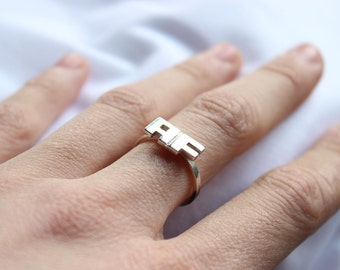 Personalized Silver Stacking ring,  Custom Initial Letter ring,  Sterling silver, Personalized Jewelry,  Name ring, Made to order