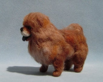 Custom Pet Portrait dog sculpture needle felted Chow Chow