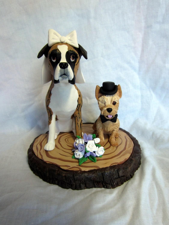 Custom Made Clay Dog Wedding Cake Topper by