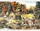 Currier Ives Print - Pioneer Print - Vintage Lithograph Postcard - Cabin in Woods - The Western Front - Frances Palmer - Americana - 1860s