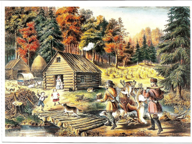 6 tarjetas de felicitacin de Currier and Ives handcolored
