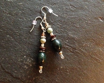 Beaded Dangle Drops Olive Gray Jade Turquoise Inlaid Brass Long Earrings Surgical Steel Earwires-- 2.75 inches -- ER-BEAD-5