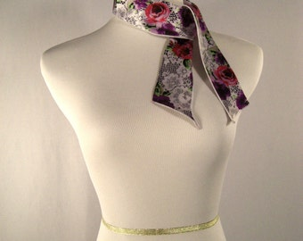 Ponytail Scarf - Headband - Hatband - Purse Scarf - Rose Pink Purple Green White Black Floral Pattern