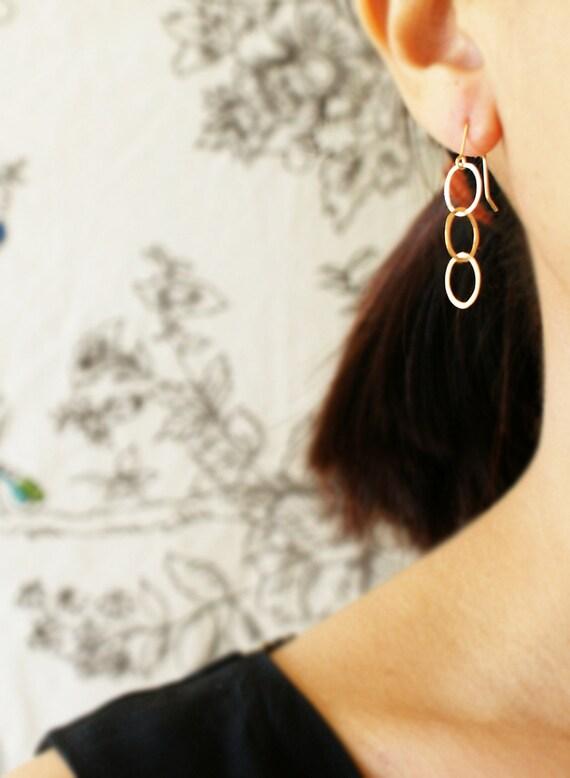 Simple gold drop earrings, drop earrings, gold link dangle earrings, everyday simple gold drop earrings