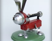 Rabbit home decor recycled art assemblage kitchen robot