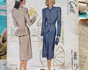 1947 peplum suit pattern. McCall 6800. 34 bust.
