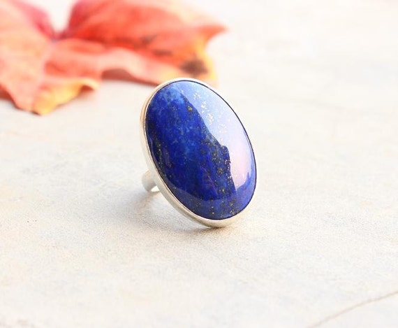 Lapis Lazuli Ring - Lapis ring - Blue ring - Bold ring - Oval ring - Cabochon ring - Bezel ring - Gift for her