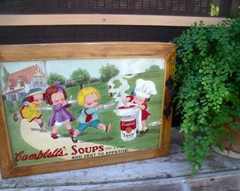 """WaLL CABINET tin sign  """" Campbell's Soups 10 cents a can--Add Zest To Appetites""""--wonderful spice cabinet cupboard-aWeSoMe"""