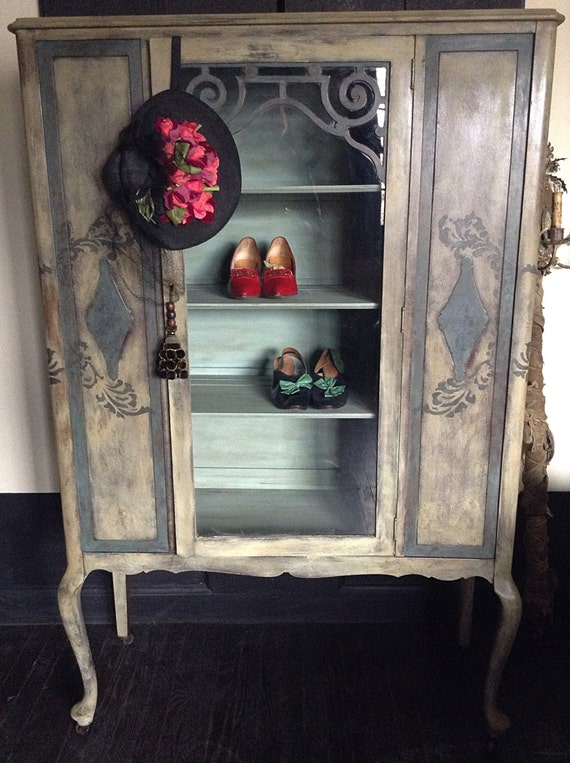 Hand Painted China Cabinet French Country Cabinet Vintage