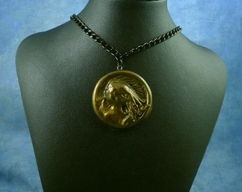 Antique Gold Cthulhu Cameo Necklace with Chain, Handmade Polymer Clay Jewelry