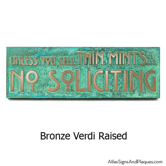 """Thin Mints No Soliciting Sign, Thin Mint Cookies, Girl Scouts, No Solicitors, 12"""" W x 4"""" H made in USA"""