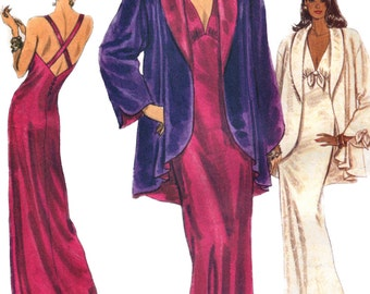 Vogue 7925 Misses Nightgown Shawl Collar Jacket Pattern Criss Cross Back Womens Sewing Pattern Size Xs S M Bust 30 - 36 UNCUT