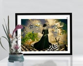 Print steampunk woman poster canvas illustration Surrealism  Birthday Gift Art modern golden green tones  CANVAS giclee