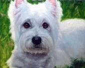 "White Westie, custom Pet Portrait Oil Painting by puci, 8x8"""