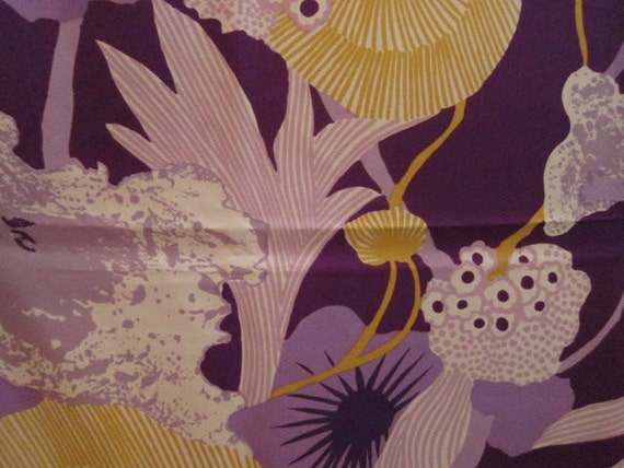 1.5 Yds Vintage 70s Thompson of California Fabric, Abstract Floating Florals in Plum, Gold, and White
