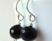 Black Spinel Faceted Round Ball Earrings - Simple Wire Wrapped Dangle Earrings