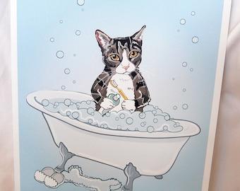 Bathtime Tabby Cat - Eco-Friendly 8x10 Print