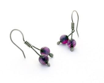Sterling Silver Earrings with Purple Aventurine Beads, Hook Earrings, Small Branch Earrings, Oxidized Silver Earrings, Minimal Jewelry
