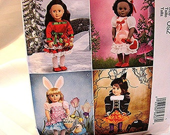 18 inch Doll Clothes Pattern UNCUT Holiday Dresses fits 18 inch dolls