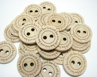 "1"" Wooden Buttons ""knit with love"" - Set of  10"