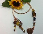 Beaded Bookmark in Metallic Gold Silver Bronze with Labyrinth Charm BK-119-DSZ