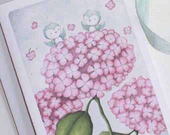 """greeting card - card - everyday -birthday, - thank you -thinking of you - birds - hydrangea - """"On Top of the World!"""""""