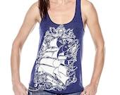 Pirate Ship tank top, Old World Sailing Ship, Anchor, women's tank shirt