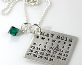 The Original Hand Stamped Calendar Necklace - Mark Your Calendar - personalized sterling silver necklace with Swarovski crystal dangle