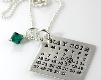 The Original Hand Stamped Calendar Necklace - Mark Your Calendar - personalized sterling silver calendar necklace with Swarovski crystal