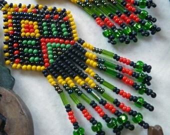 Beadwork Earrings- Rasta