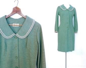 Vintage 1960s Dress / Fern Green / Knit Dress / Peter Pan Collar Dress / 60s Dress / Medium M
