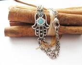 Hamsa Bracelet Silver, Hand Hamsa with Swarovski Crystal Evil eye