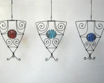 SALE / Three Triangular Wire Pendant Sculptures