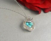 Bird Nest Necklace, Turquoise Beads, Sterling Silver Chain,  Easter Robin Egg Nest Necklace