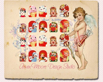 Very Chic Mod Retro Valentines Day Nail Art Waterslide Water Decals Miniature - fs-010